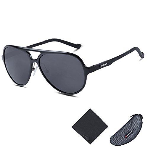 HODGSON Aviator Stil polarisierte Sonnenbrille für Herren und Damen Al-Mg Rahmen unzerbrechliche Gläser-Schwarz