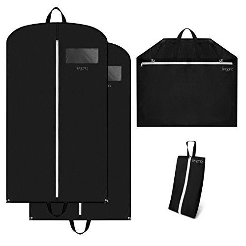 2x Premium Kleidersack inkl. Nylon Schuhtasche - [110 x 62cm] stabile Anzugtasche mit Tragegriffen, Metallknöpfen & XL Staufach / wasserabweisende Reise Kleidertasche, Hemdentasche, Kleiderhülle