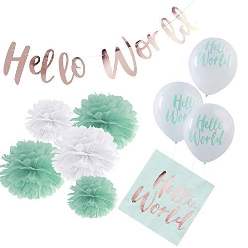 in due 36-TLG. Partyset 'Hello World' Geburt Babyparty Baby Junge Mädchen Mint – Deko Set Girlande, Pompoms, Luftballons & Servietten