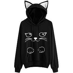 Sudadera con capucha para mujer Gato Manga larga Pullover Tops Blusa camisa de niña Abrigo de mujer LMMVP (M, Negro)