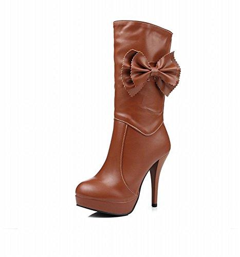 Mee Shoes Damen mit Schleife runde Plateau high heels Stiefel Gelbbraun