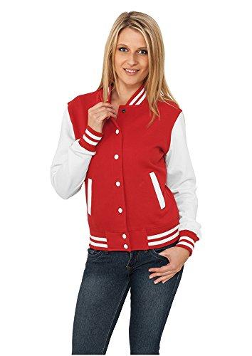 """URBAN CLASSICS Felpa da Donna """"College"""" in 2 Colori - XL, 63% cotone 37% poliestere, Red/Wht"""