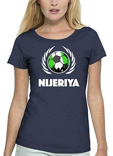 ShirtStreet Nijeriya Fussball WM Premium Fanfest Damen T-Shirt Bio Baumwolle Stanley Stella Fußball Nigeria Navy
