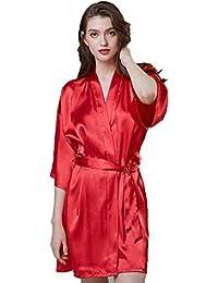 Forall-Ms Batas De Seda para Mujer, Traje De Dama De Honor Kimono Bata