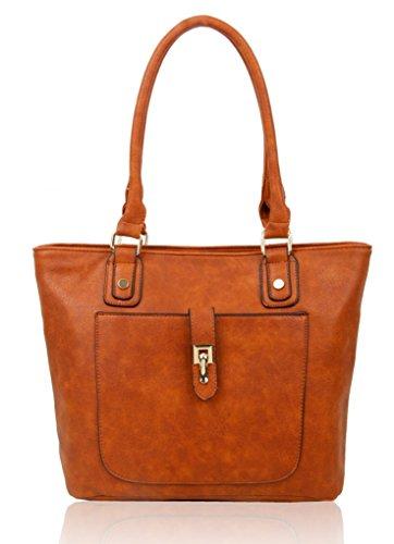 LeahWard Frauen weiche leichte Schulter Handtaschen Qualität Faux Leder Handtaschen für Frauen Für die Schule CW14106 (Burgund Schultertasche) Braun Große Umhängetasche