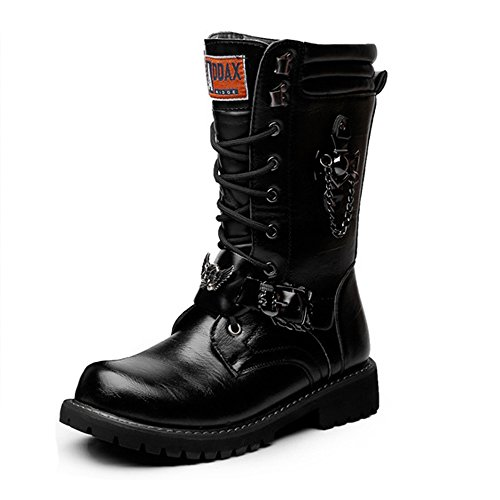 Best Choise Men's Shoes Chaîne Lacée Avec Décoration En Cuir Mid-mollet Bottes De Cuir De Combat Pour Les Hommes Outdoor (couleur: Noir, Taille: 38 Eu) Noir
