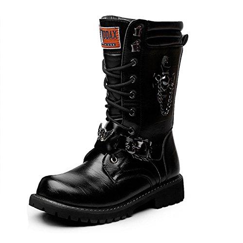 Mitte Kalb Casual Stiefel (Casual Suede Shoe Herrenschuhe Schnürung Kette Dekoration Leder Oberen Mitte Kalb Kampf Martin Stiefel für Herren Herren Sneaker (Color : Schwarz, Größe : 8 UK))