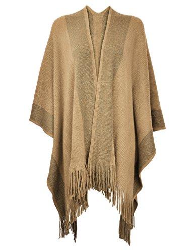 ZLYC Damen Herbst/Winter Weiche Schlichte Poncho Capes Retro - Stil Cardigans Pullover Mantel mit Fransen (Camel) -