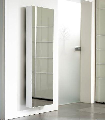 Schuhschrank SCHUH-BERT 500 Mirror drehbarer Spiegelschuhschrank Spiegel weiß Höhe 150cm