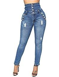 c2053c1c20d Juleya Jeans Mujer Pantalones elásticos de Cintura Alta Straight Denim  Pants Sexy Pantalones lápiz Pantalones de