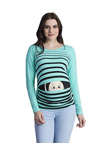 M.M.C. Peek a Boo - Lustiges Witziges Süßes Umstandsshirt mit Guck-Guck Motiv für Die Schwangerschaft/Umstandsmode/Schwangerschaftsshirt, Langarm Mint