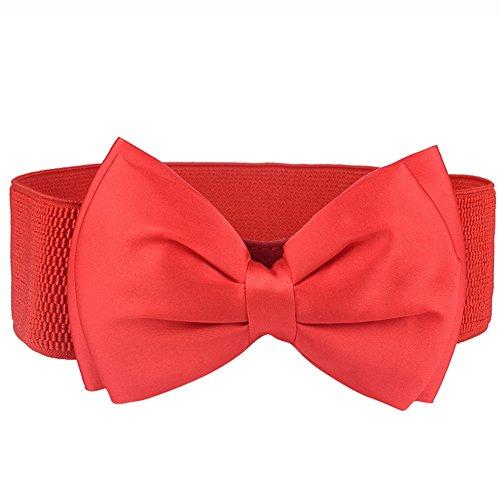 iShine Damen Elegante Gürtel Elastische Breit Taillengürtel mit Schleife Größe Einstellbar Mode Modern für Mädchen Frauen Passen Hemd Kleid Hochzeitsfeier Rot (Elastische Kleid Taille Hose)