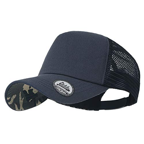 ililily Extra Big Size Adjustable Mesh Back Curved Baseball Cap Trucker Hat (Large, Blue Camo) -