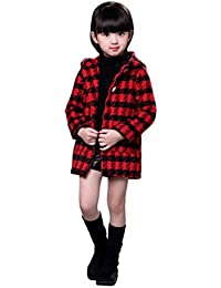 Abrigo acolchado para bebé niña con capucha , Yannerr Chica invierno lana Plaid encapuchados chaqueta sudadera larga capa ropa outwear gruesa caliente