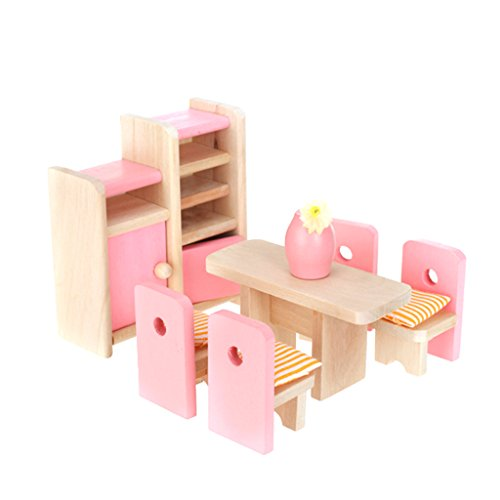 Dollhouse Dining Room Wooden Furniture Set Table+Chair+Display Unit+Vase