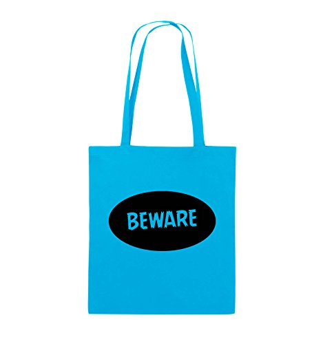 Comedy Bags - Beware - Jutebeutel - lange Henkel - 38x42cm - Farbe: Schwarz / Pink Hellblau / Schwarz
