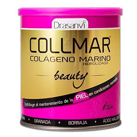 COLLMAR Beauty Colágeno Marino Hidrolizado con Ácido Hialurónico, Vitamina C, Biotina, Aceite de Onagra, Aceite de Borraja y Granada 275 gr Polvo
