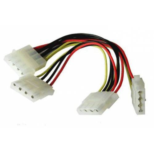 CNCT Molex Splitter cable ( SMPS Y Cable ) - To power Three PATA HDD and peripherals from WD - Seagate - Toshiba - Hitachi - Lacie from a Molex Power connection on standard power supply