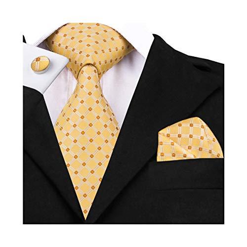 DiBanGu – Business-Krawatten-Set aus gewebter Seide, bestehend aus Herrenkrawatte, Einstecktuch, Manschettenknöpfen und Krawattennadel Gr. Einheitsgröße, gelb