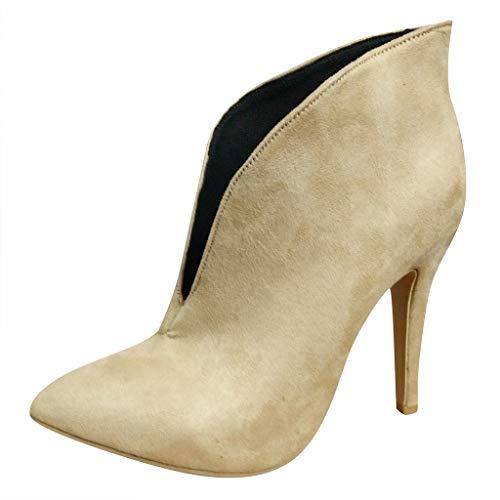 feiXIANG Damen Kurz Stiefel mit Thin High Heels Frauen Freizeitschuhe Abendschuhe Lady Ankle Boots Brautschuhe (Beige,37)