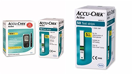 Accu Chek Active Blood Glucose Meter Kit (Multicolor)( Vial of 10 strips free)+ Accu Chek Active Strips, Pack of 50 COMBO  available at amazon for Rs.2335