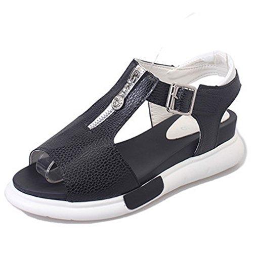 Loop Donne T Sandali Toe Scarpe Peep strap Di Slingback Nere Taoffen Compensa Moda BW6q1t6ap