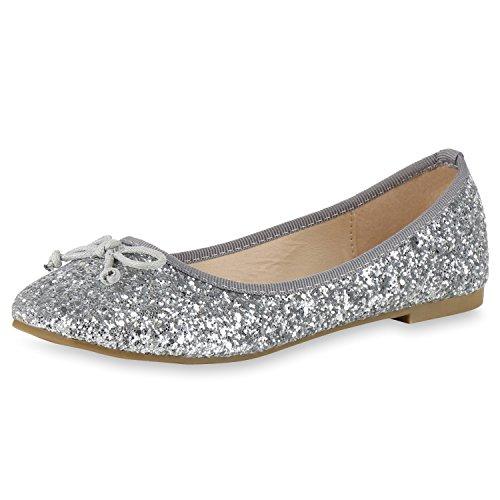 napoli-fashion - Ballerine Donna, argento (Silber Creme Glitzer), 38 EU