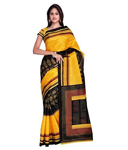 Saree(SRP Fashion Selection Yellow Art Silk Saree)
