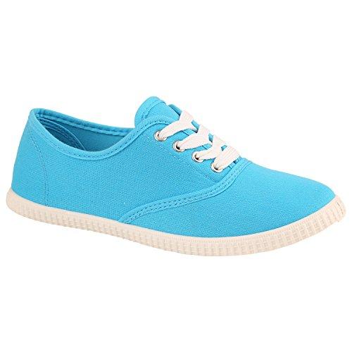 Damen Sneakers Stoff | Sneaker Low Muster | Basic Schuhe Animal Print | Freizeit Turnschuhe Schnürer Hellblau Blue