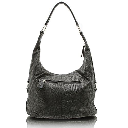 d172fadd26c18 ... Jennifer Jones 3446 Handtasche Damen Shopper Damentasche Henkeltasche Schultertasche  Tasche Nieten Grau ...
