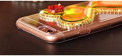 Souple TPU Étui pour iPhone 5 5S SE Clair Doux Silicone Gel Housse,Vandot Coque pour iphone 5 5S SE Transparent Coque Ultra Mince Case Cover pour iphone 5 5S SE [Conception de miroir de forme de coeur Sablier-Orange
