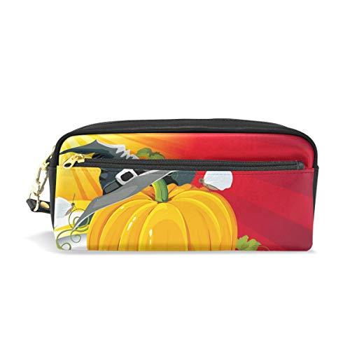 Federmäppchen, BENNIGIRY Halloween-Kürbis mit Ray-Hintergrund, Vector Illus PU Leder, große Kapazität, Stifteetui, Schreibtisch-Organizer mit Reißverschluss für Schule und Büro, 20 x 6 x 8 cm