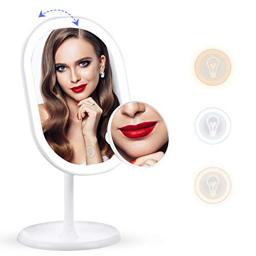 Liaboe Espejo de Maquillaje con Luz LED Ajustable Espejo Aumento 10x Espejo Cosmético de Mesa con 3...