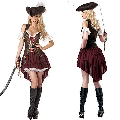 Gyan Halloween Damen Kostüme Piratin Cosplay Kleider Fasching Halloween Karneval Piratin Kapitän Clothing