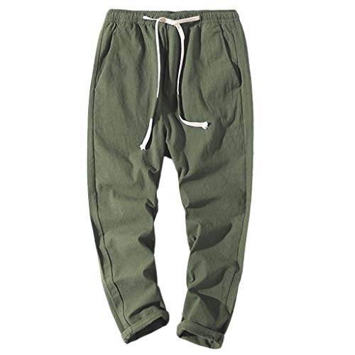 BURFLY Männer Baumwoll und Leinen Riemen neun Hosen entwerfen Neue lässige Hosen Jogginghosen (80-dollar-schuhe)