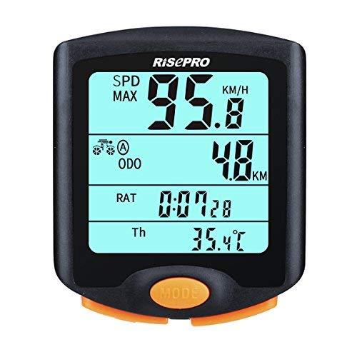 Computer per bicicletta senza fili, Risepro impermeabile bicicletta computer 4Line, display LCD retroilluminato per Tracking equitazione velocità e distanza, impermeabile Bike computer yt-813