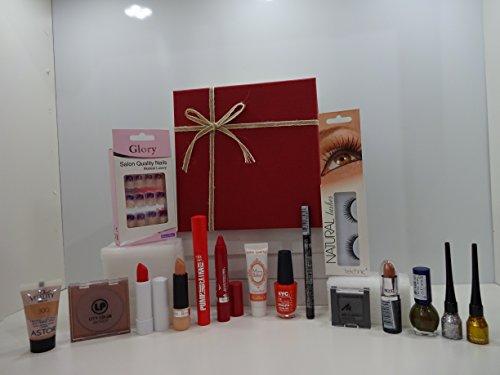 Regalo di San Valentino per lei ~ lusso 15PC make up beauty box-15x mix Brands make up prodotti-Unghie finte-make up prodotti in confezione regalo + Foundation incluso