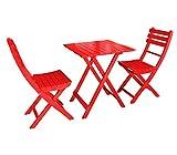 Dehner Balkonset Provence, Tisch ca. 71 x 60 x 60 cm, 2 Stühle je ca. 86 x 50 x 40 cm, FSC Akazienholz, rot