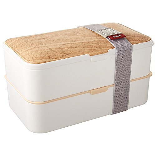 PuTwo Lunch Box Leakproof Bento Box 2 Tier 1200 ml Bento Food Containers with Cutlery Set FDA LFGB Certification - White