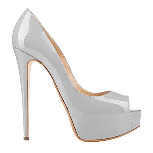 Eks - Chaussures Femme À Talon Gris (grau-lackleder)