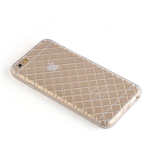 JAMMYLIZARD | Aluminium Bumper Hülle für [ iPhone 6 4.7 Zoll ], BLAU Quilted KLAR