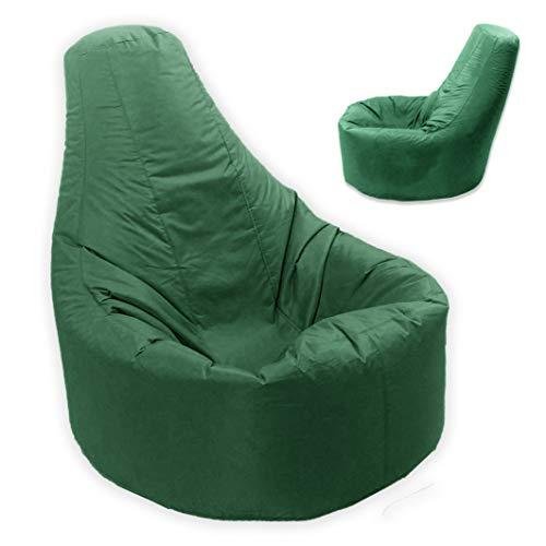 Puf grande con respaldo, para interior y exterior, resistente al agua y a las condiciones climatológicas, color verde