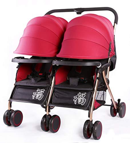 TZQ Zwillingskinderwagen Baby Folding Trolley Baby Kann Liegend Licht Sitzen Doppel Trolley 0-3 Jahre Alt,Red