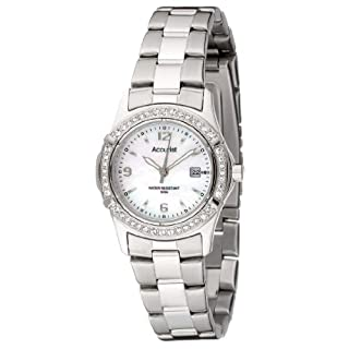Accurist Women's Quartz Watch with White Dial Analogue Display and Silver Stainless Steel Bracelet Lb1540P