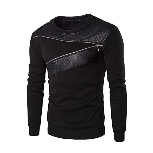 Bestow Los Hombres de Invierno cálido Splicing Cuero Sudadera Abrigo Chaqueta Outwear suéter(Negro,4XL)