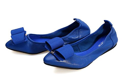 SHINIK Frauen Fold Up Ballett Pumps Ei Mappen Neue Leder Casual Single Korean Tier Bowknot Bottom Dance Shallow Schuh Blue