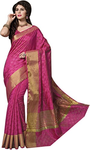 Taanshi Women Tussar Silk Saree With Two Blouse Piece (2630, Pink)