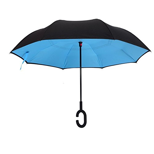 Reversion Regenschirm, Coopache Innovative Winddichtes Stockschirm, Double Layer Sunblock Umwelt Umbrella, Best Verwendung für Reisen und Auto Stockschirm
