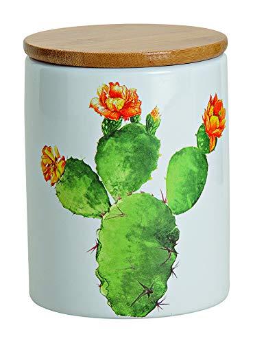 MC Trend 2er Set Vorratsdosen aus Keramik mit edlem Deckel aus Bambus der mit Einer Aroma Gummidichtung Versehen ist, aromadicht (2er Set Kaktus) - Kaktus Salz