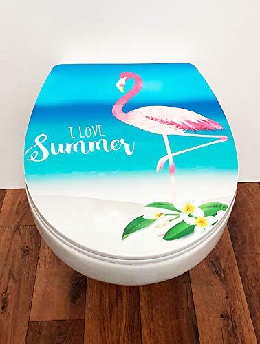ADOB Design WC Sitz Flamingo Klobrille Klodeckel Toilettendeckel, Absenkautomatik/Softclose, zur Reinigung abnehmbar, 63510